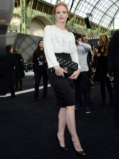 "<p><a href=""http://www.elleuk.com/star-style/celebrity-style-files/jessica-chastain"">Jessica Chastain</a> attends the <a href=""http://www.elleuk.com/catwalk/designer-a-z/chanel/autumn-winter-2013/collection"">Chanel Autumn Winter 13</a> show, Paris Fashion"