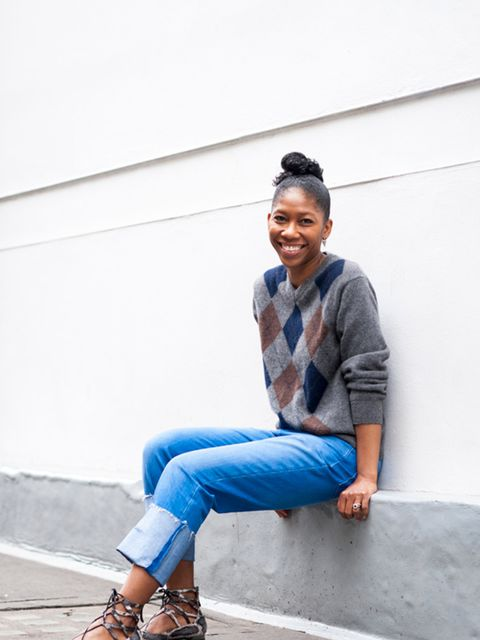 Kenya Hunt, Acting Content Director  Giasone jumper, & Other Stories jeans, Aquazzura shoes