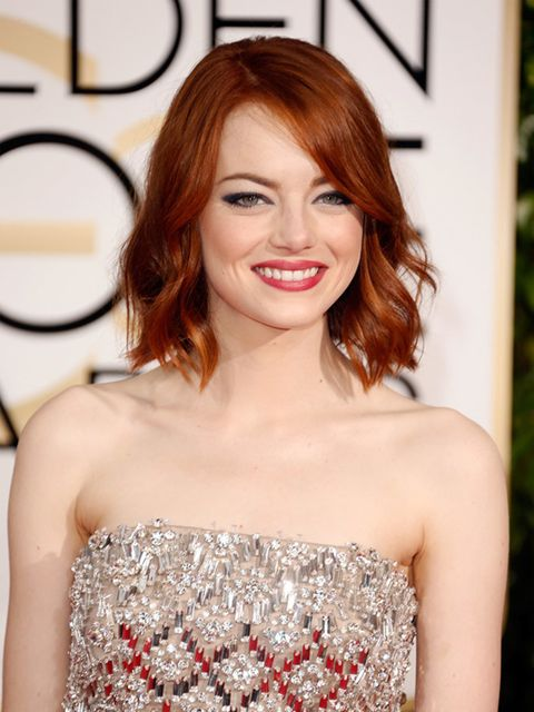 """<p>The shape is bold but flattering and so refreshing among all the no-makeup-makeup looks I've come to expect.</p>  <p>To go with her <a href=""""http://www.elleuk.com/fashion/celebrity-style/golden-globes-2015-red-carpet-dresses"""">bejeweled Lanvin playsuit,"""