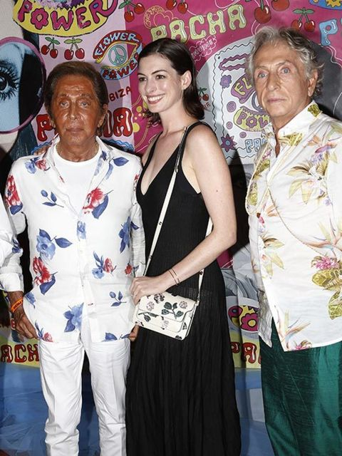 Anne Hathaway and Valentino attend the Flower Power party in Ibiza, August 2015.