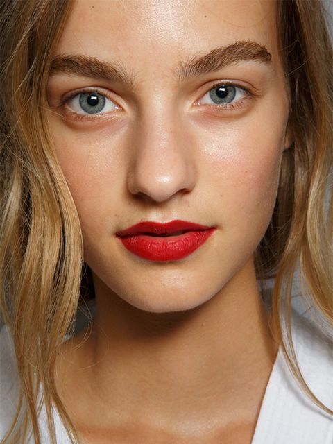 "<p>Burberry</p>  <p>The look: Rose petal lips</p>  <p>Make-up artist: Wendy Rowe</p>  <p>Key products: <a href=""http://uk.burberry.com/fresh-glow-luminous-fluid-base-golden-radiance-no02-p38856271"" target=""_blank"">Burberry Fresh Glow Foundation in Golden,"