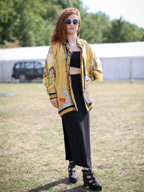 JESS GLYNNEQ. Describe your festival styleA. For festivals, you want to have a slightly different look, because you like to jump about and be free and have fun, and I'm obsessed with Versace. A Versace vintage shirt goes down pretty well with me. Q.