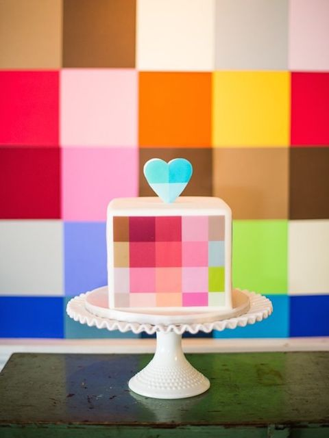 "<p>How completely adorable is this little pixelated cake? Image from <a href=""http://www.weddingpartyapp.com/blog/2013/08/01/sweet-slices-feast-your-eyes-on-24-of-our-favorite-unique-wedding-cakes-cool-different-crazy-wedding-cake/"" target=""_blank"">Weddin"