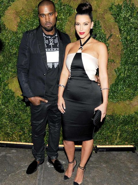 <p>Kanye West and Kim Kardashian at the Chanel party</p>
