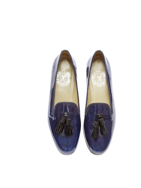 """<p>Embrace the season of the flat shoe in these slick navy patent loafers; try them with a slightly cropped trouser for the office.</p><p><a href=""""http://www.penelopechilvers.com/products/details/i/1038-02040/n/dandy-tassel-slipper.aspx"""">Penelope Chilvers"""