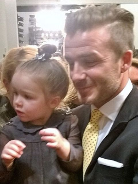 <p>Be still our beating hearts, David and Harper backstage at Victoria's AW14 show. She's one lucky lady.</p>