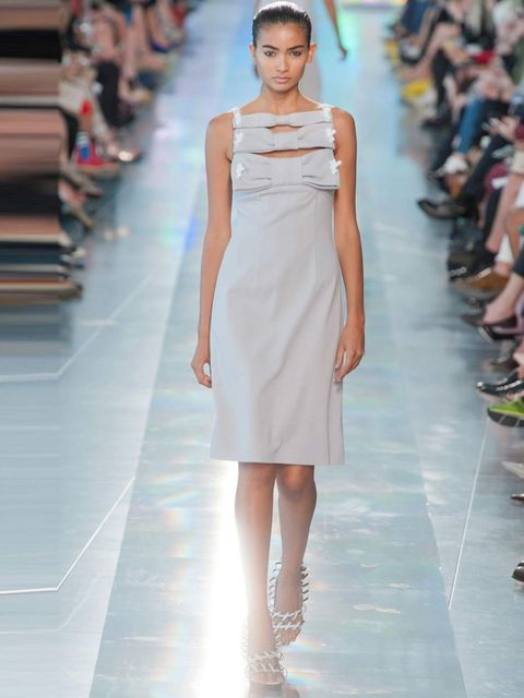 "<p>'Dove grey is a beautiful colour on Kate. This edgy <a href=""http://www.elleuk.com/catwalk/designer-a-z/christopher-kane/spring-summer-2013"">Christopher Kane</a> dress could be toned down for the Duchess by removing the bolts, making it perfect for a B"