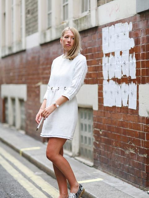 "<p>Harriet wears<a href=""http://bit.ly/1JvWZe2"" target=""_blank""> ASOS tunic dress</a>, £50,</p>"