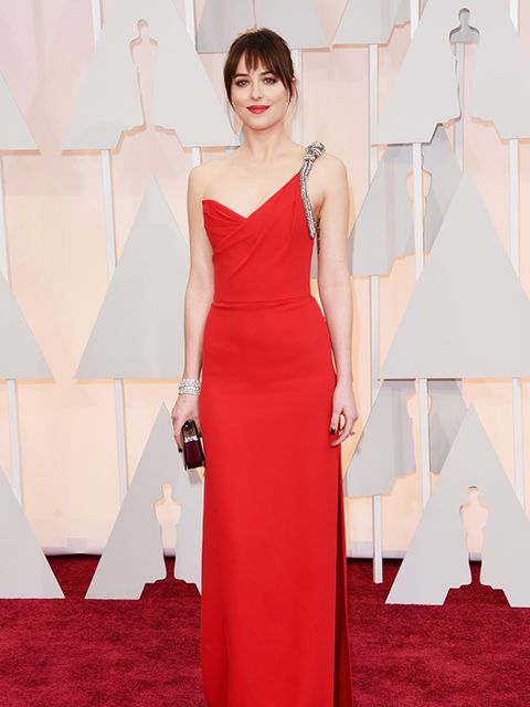 Dakota Johnson wears Saint Laurent at the 2015 Oscars.