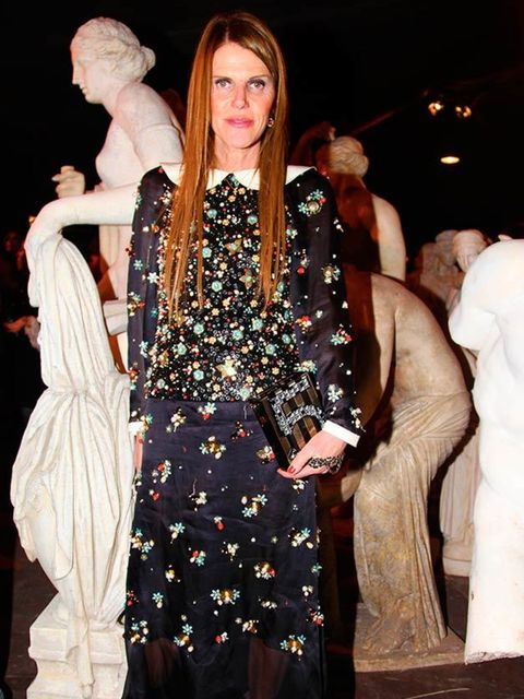 Anna Dello Russo attends the Chanel Metiers d'Art show, Italy, December 2015.