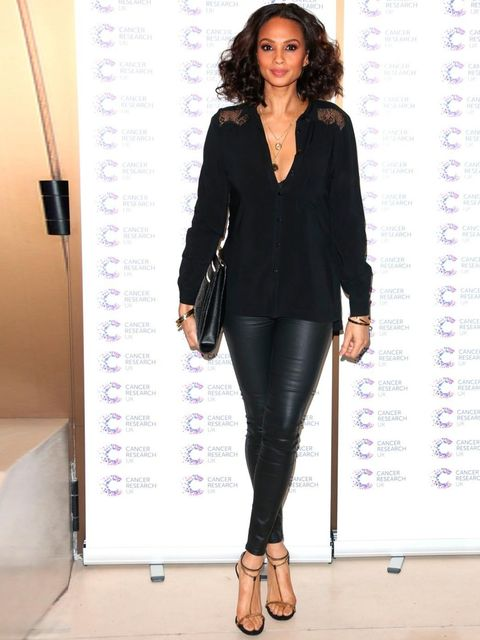 <p>Alesha Dixon wearing all black to a Jog-On, a Cancer UK charity fundraiser, 2013.</p>