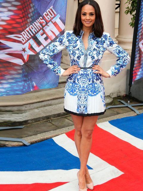 <p>Alesha Dixon wearing a Roberto Cavalli blue and white print dress to the Britain's Got Talent press launch, London, 2013.</p>