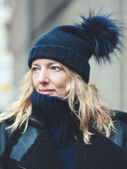 <p>Rebecca Lowthorpe – ELLE Collections Editor/Assistant Editor ELLE.</p>  <p>Inverni hat, Preen coat and Margiela for H&M jumper dress. </p>