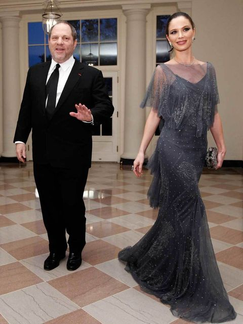 <p>Harvey Weinstein and Ms. Georgina Chapman arrive for the State dinner for the Prime Minister of Great Britain at the White House on March, 14, 2012 in Washington, DC.</p>