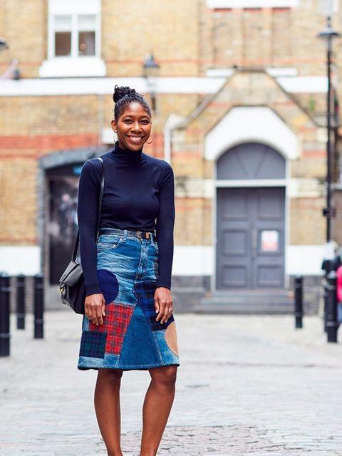 <p>Kenya Hunt, Fashion Features Director</p>  <p>Zara turtleneck, Junya Watanabe skirt, Gucci shoes, Lizzy Disney bag</p>