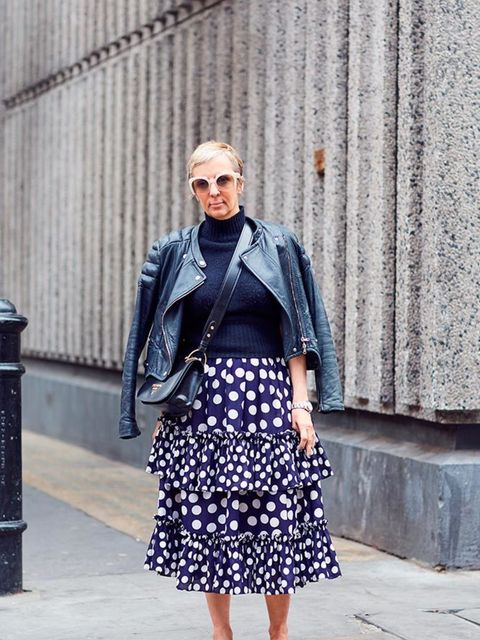 <p>Anne-Marie Curtis, Fashion Director</p>  <p>Carven jacket and jumper, Juan Carlos Obanda for J Crew skirt, Gucci shoes, Prada bag, Miu Miu sunglasses</p>
