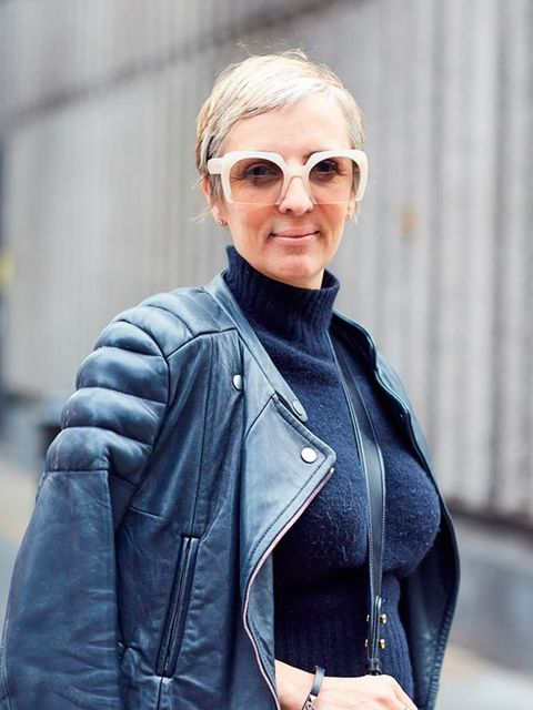 <p>Anne-Marie Curtis, Fashion Director</p><p>Carven jacket and jumper, Juan Carlos Obanda for J Crew skirt, Gucci shoes, Prada bag, Miu Miu sunglasses</p>