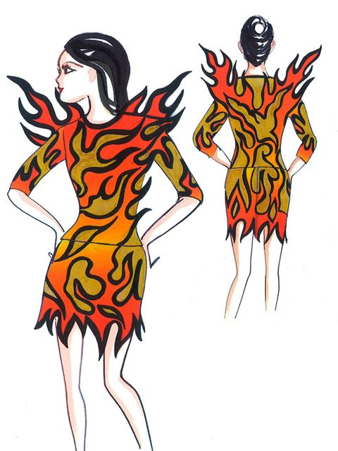 Opening with Roar, Katy wore a patent leather flame mini dress with cut outs and glitter gold leather appliqué detail.