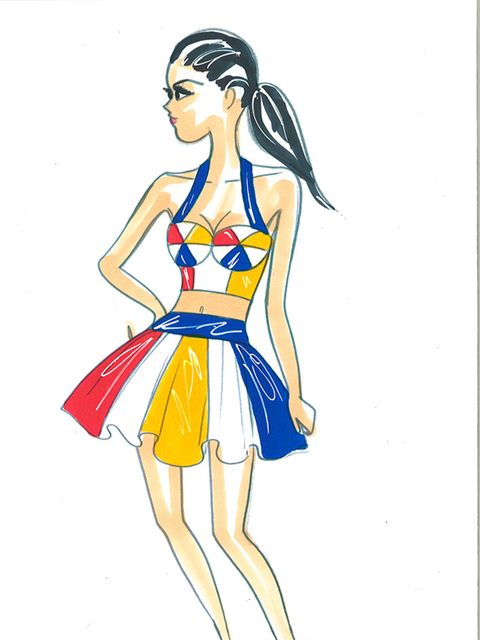 Then came Kartoon Katy in a bustier and skirt set inspired by her hit California Gurls.