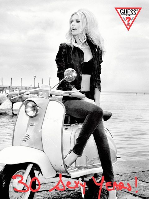 Claudia Schiffer stars in a Guess Jeans advertising campaign, 1989