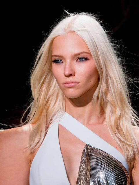 """<p><strong>Sasha Luss</strong> at <a href=""""http://www.elleuk.com/catwalk/designer-a-z/versace/spring-summer-2014"""">Versace</a>.</p><p>'For me, the face of SS14. The newly super-blonde Russian beauty walked every show that mattered. And whatta walk she has!"""