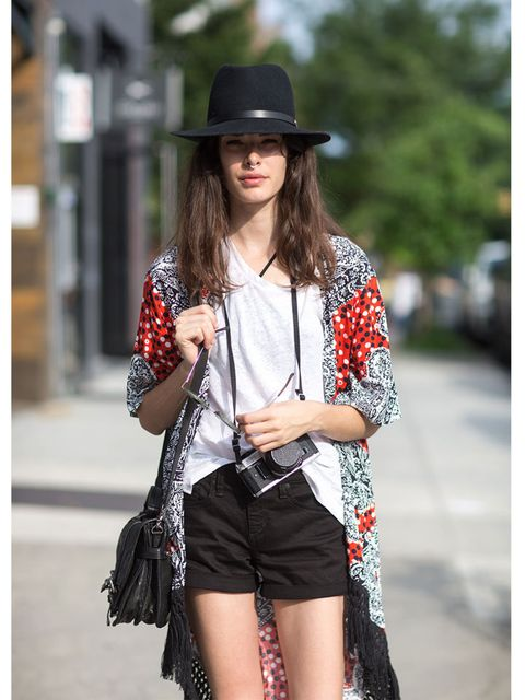 <p>Carly Foulkes wears Rag and Bone hat and T-shirt, ASOS kimono, Joe's jeans shorts and Frye purse.</p>