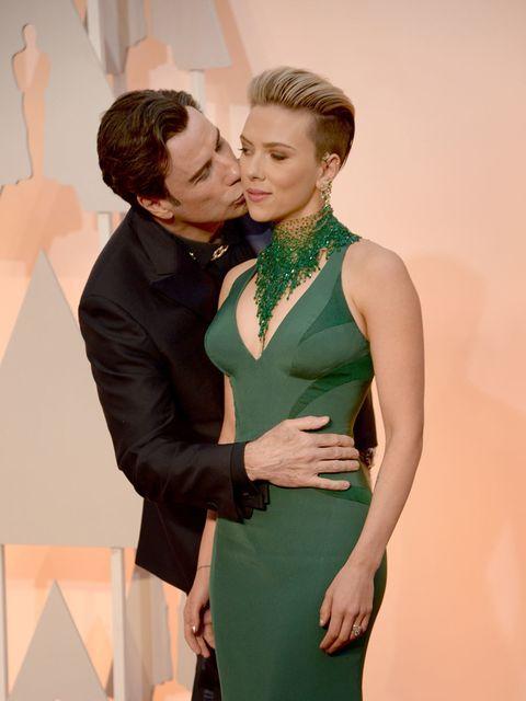 <p>John Travlota and Scarlett Johansson.</p>