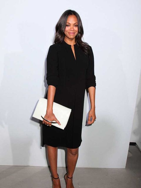 Zoe Saldana at Boss Women, s/s 2015 Mercedes-Benz Fashion Week, New York.