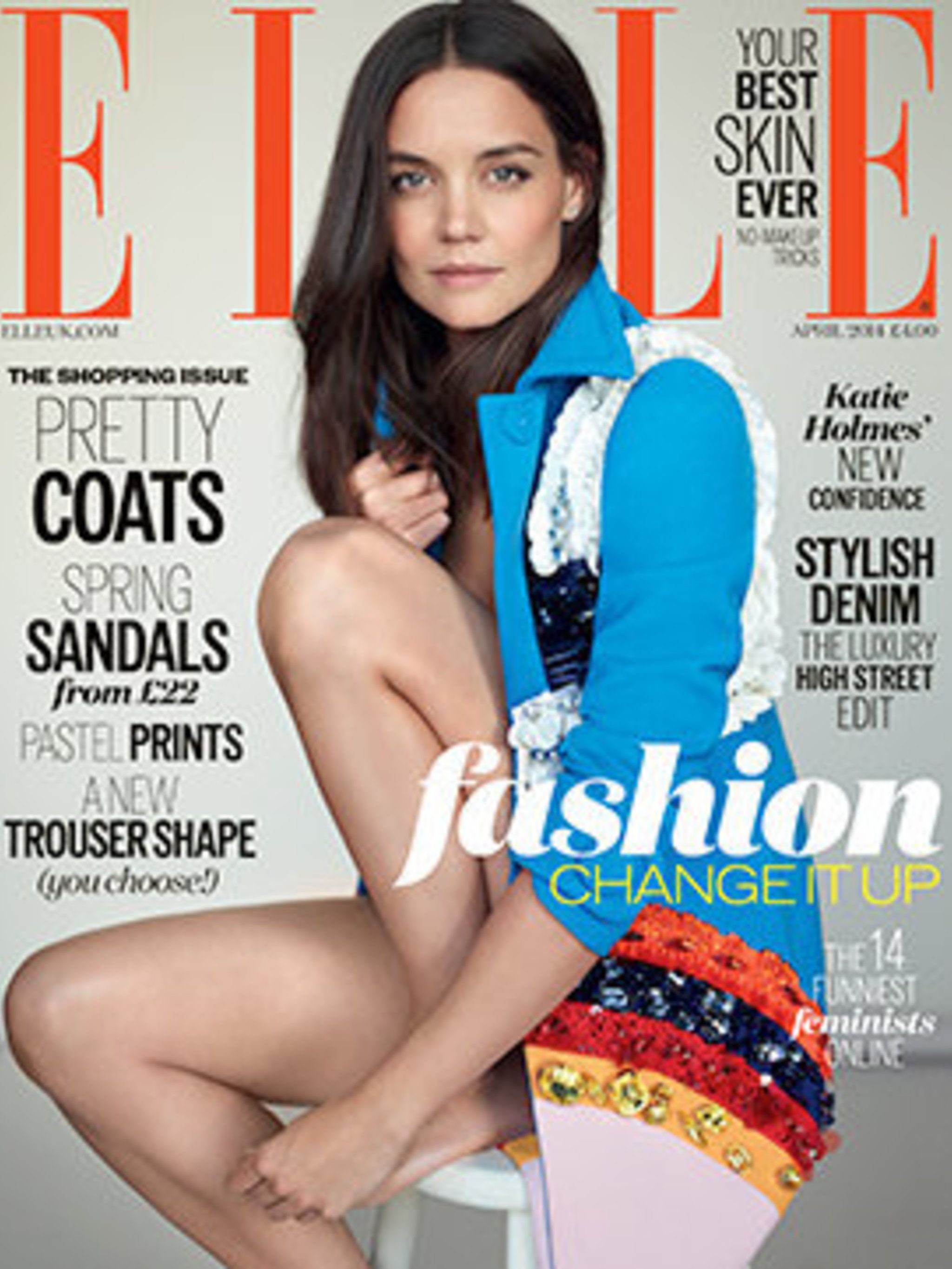 <p>Katie Holmes in Prada on the cover of ELLE, April 2014</p>