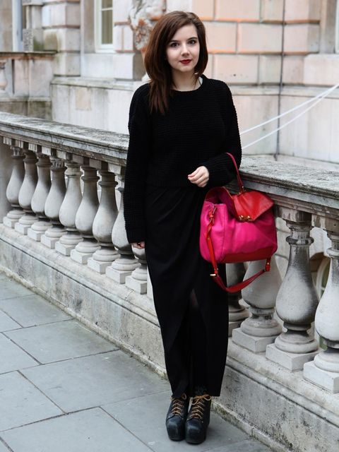 <p>Mariel Kennedy, 20, Student.Topshop sweater, AllSaints skirt, Jeffrey Campbell boots, Marc by Marc Jacobs bag.</p>