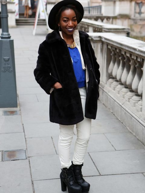 <p>Gladmore Mayangi, 20, student.Charity shop jacket, H&amp&#x3B;M trousers, Office shoes, Topshop jewellery.</p>