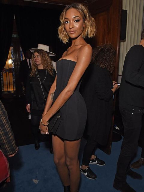 Jourdan Dunn attends the Warner x Circoc BRIT Awards after party in London, February 2016.