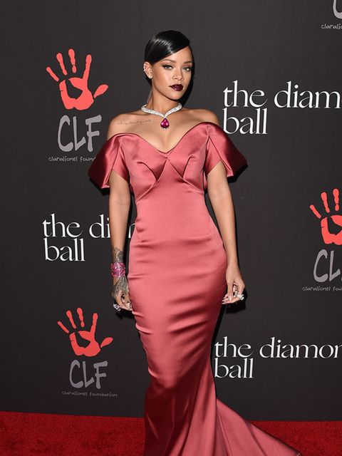 """<p>The nights's host <a href=""""http://www.elleuk.com/fashion/celebrity-style/rihanna-s-style-file"""">Rihanna</a> wears Zac Posen to The First Annual Diamond Ball, December 2014.</p>"""