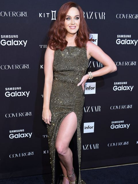 <p>Perry goes for full-on glamour in Saint Laurent at the BAZAAR Icons party toasting Carine Roitfeld and Jean-Paul Goude&#39;s September 2015 issue portfolio.</p>