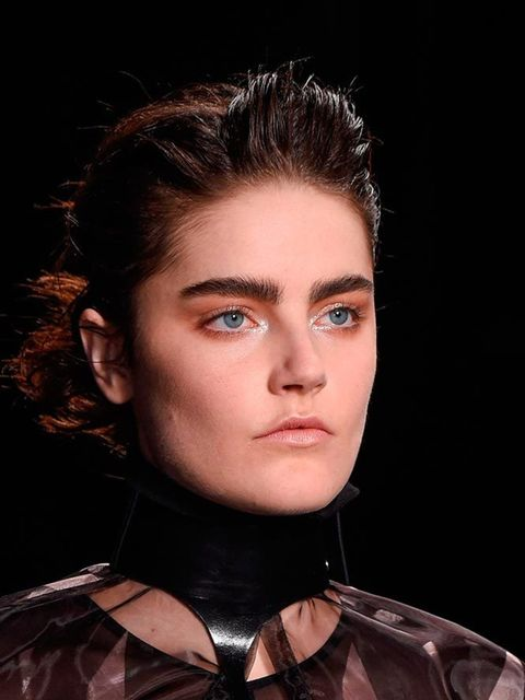 """<p><strong><a href=""""http://www.elleuk.com/catwalk/season/spring-summer-2016/letter/l-a#designer-a"""">Ann Demeulemeester</a></strong></p>  <p>The look: One Way To Brow Town</p>  <p>Make-up artist:Lyndsey Alexander</p>  <p>Key products: MAC Fly By Twilight F"""