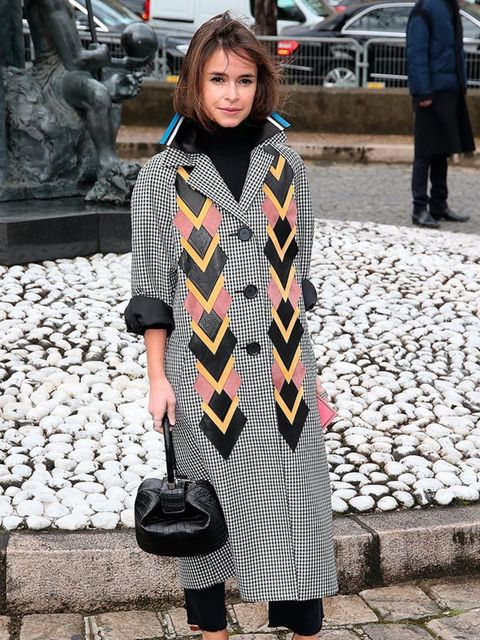 Miroslava Duma arrives for the Miu Miu show during Paris Fashion week AW16.
