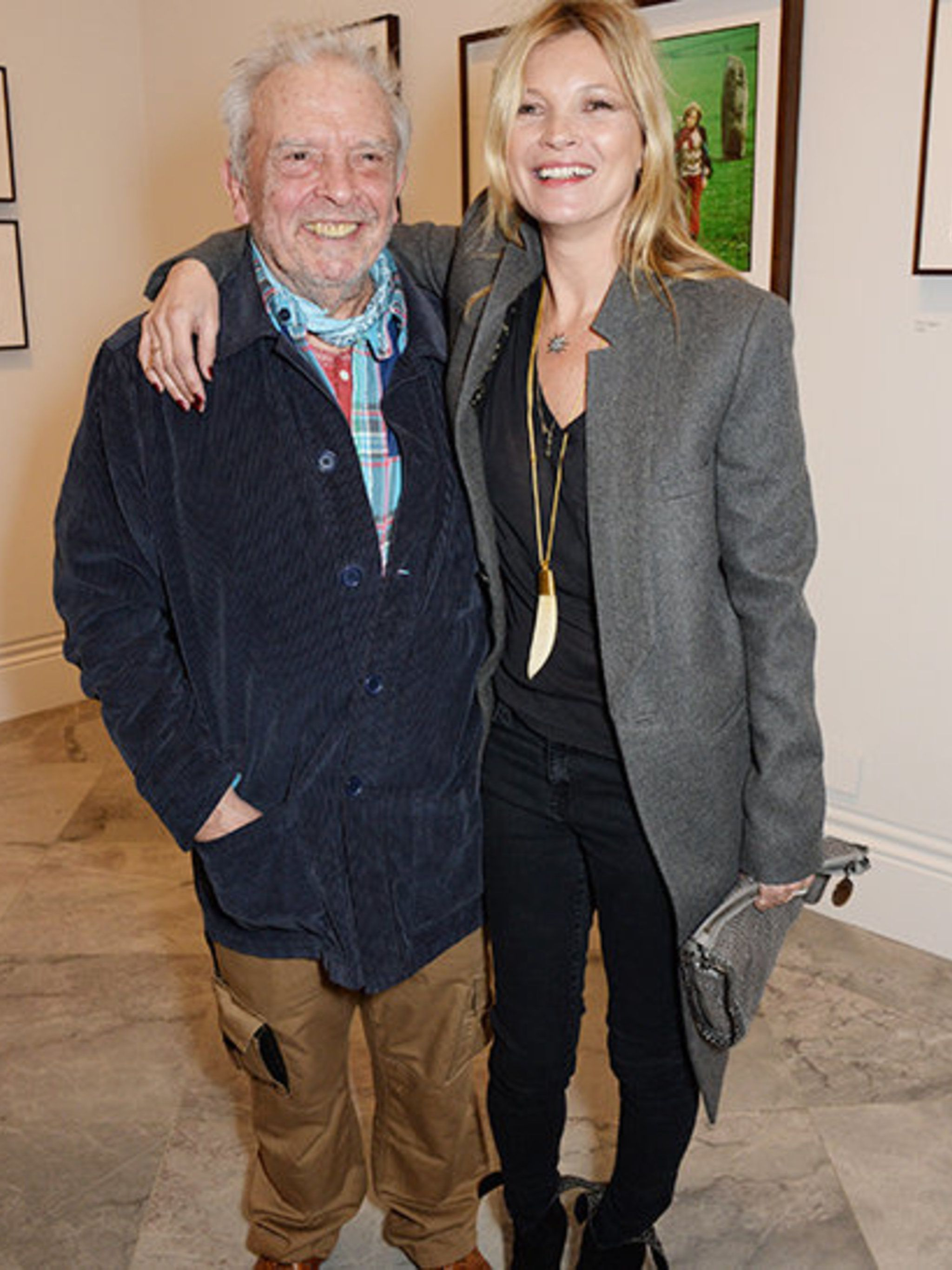 <p>David Bailey and Kate Moss at Bailey's Stardust private view, at the National Portrait Gallery.</p>