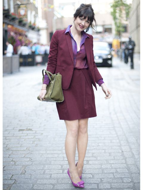 <p>Acting online fashion editor Alannah Sparks wears Carven suit, Acne shirt, shoes by Mulberry and bag by Smythson</p>