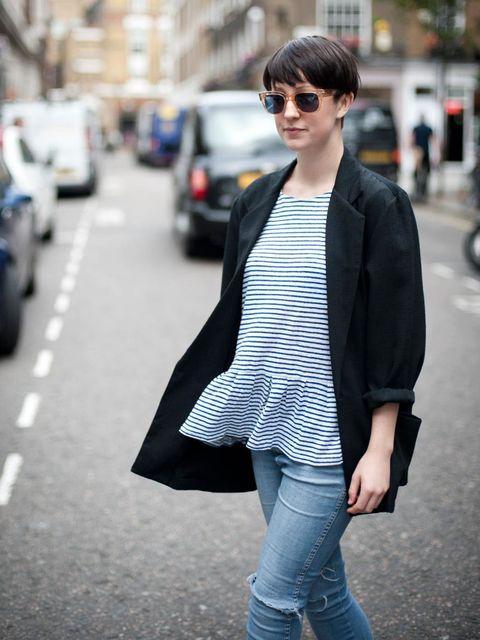 """<p><strong>Alice Watt - ELLEuk.com Fashion Assistant</strong>Vintage blazer, <a href=""""http://www.zara.com/webapp/wcs/stores/servlet/home/uk/en"""">Zara</a> peplum T-shirt, Wrangler jeans, Cutler & Gross sunglasses</p>"""