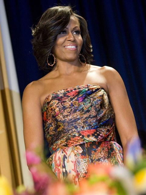 <p>Michelle Obama in Naeem Khan at the 2012 White House Correspondents' Dinner</p>