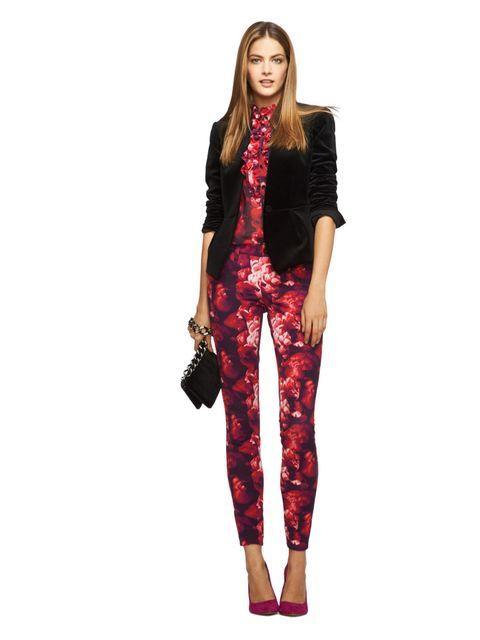 <p>Black velvet bow-back jacket, Magenta Peony print ruffle blouse, Magenta Peony print jean.</p>