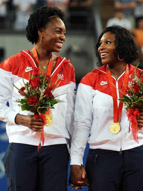 <p>Serena Williams and Venus Williams at the awards ceremony of the women's doubles at the Beijing Olympic Games, August 2008.</p>