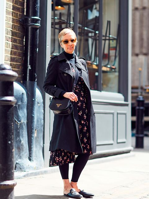<p>Anne-Marie Curtis, Fashion Director</p>  <p>Saint Laurent coat, Prada dress, Wolford tights, Céline sunglasses, Prada bag, Gucci shoes</p>