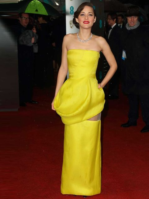 "<p><a href=""http://www.elleuk.com/star-style/celebrity-style-files/marion-cotillard"">Marion Cotillard</a> wowing in a <a href=""http://www.elleuk.com/catwalk/designer-a-z/christian-dior/couture-ss-2013/collection"">Dior Couture</a> yellow gown on the BAFTA"
