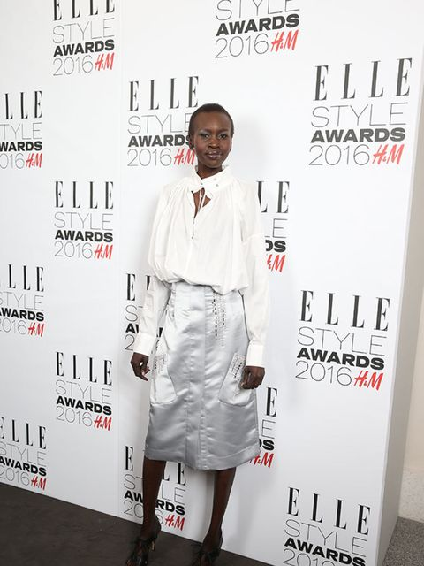 Alek Wek wearing H&M at the ELLE Style Awards 2016 in London, February 2016