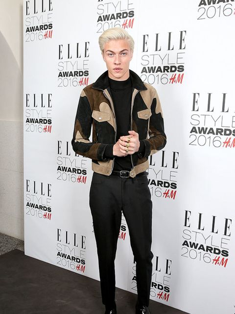 Lucky Blue Smith wearing Tom Ford at the ELLE Style Awards 2016 in London, February 2016