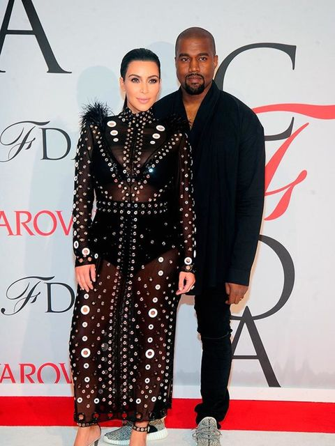 <p>Kim Kardashian-West - wearing Proenza Schouler - and Kanye West attend the CFDA Awards in New York, May 2015.</p>