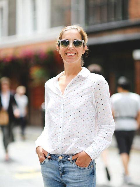 Kirsty Dale, Executive Fashion & Beauty Director Chinti & parker shirt, Zara jeans, Office slides, Rayban sunglasses