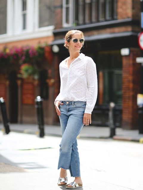 Kirsty Dale, Executive Fashion & Beauty Director Chinti & parker shirt, Zara jeans, Office slides, Rayban sunglasses