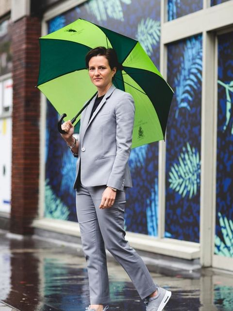 <p>Lotte Jeffs , Deputy Editor</p>  <p>Topshop suit, Whistles T-shirt, Nike trianers, Umbrella courtesy of Soho Hotel (sorry, I never gave it back!)</p>